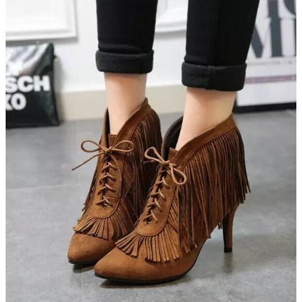 2016  女鞋系帶流蘇尖頭高跟短靴細跟磨砂皮女靴 內增高單靴縷空網靴長筒靴中筒靴短靴休閒