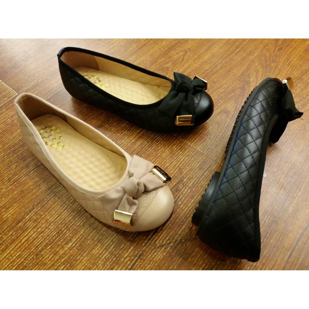 包鞋IF 美鞋MIT   典雅氣質格紋 蝴蝶結金釦厚乳膠軟墊娃娃鞋平底鞋23 25 碼