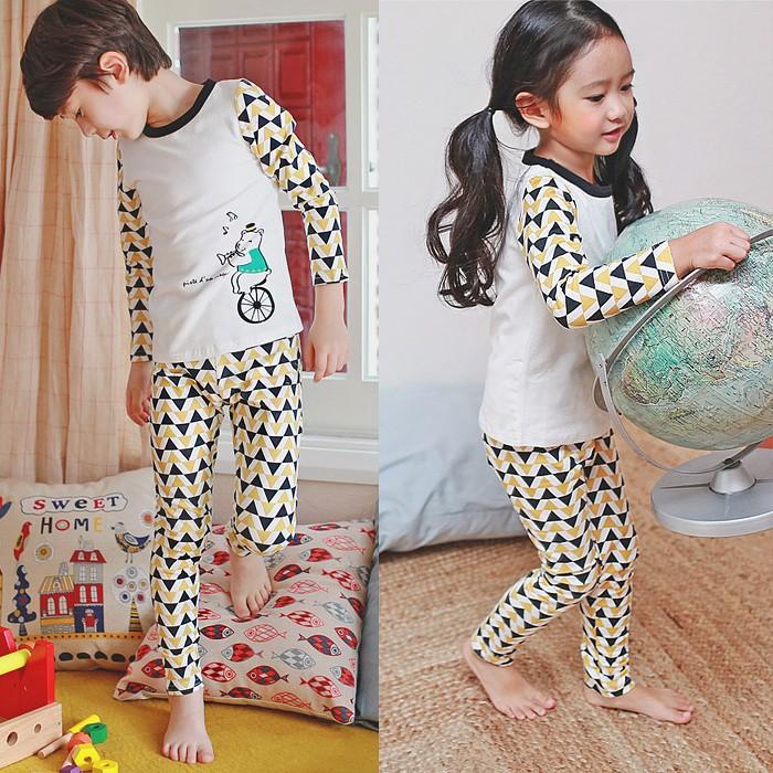 ~宛宛 ~韓國兒童棉質家居服睡衣小熊騎車款男童女童套裝