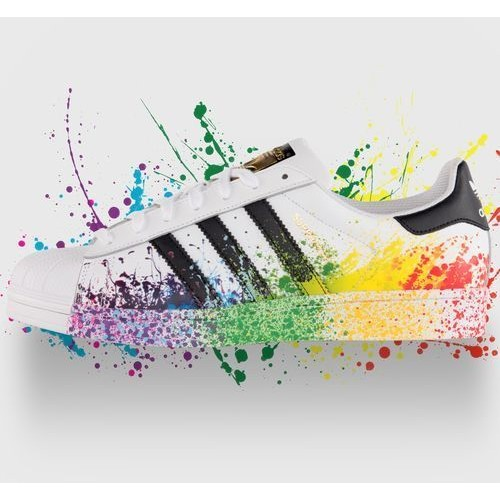 ~HY ~adidas 三葉草Superstar 白黑潑墨貝殼頭板鞋休閒 鞋白黑金男女鞋3