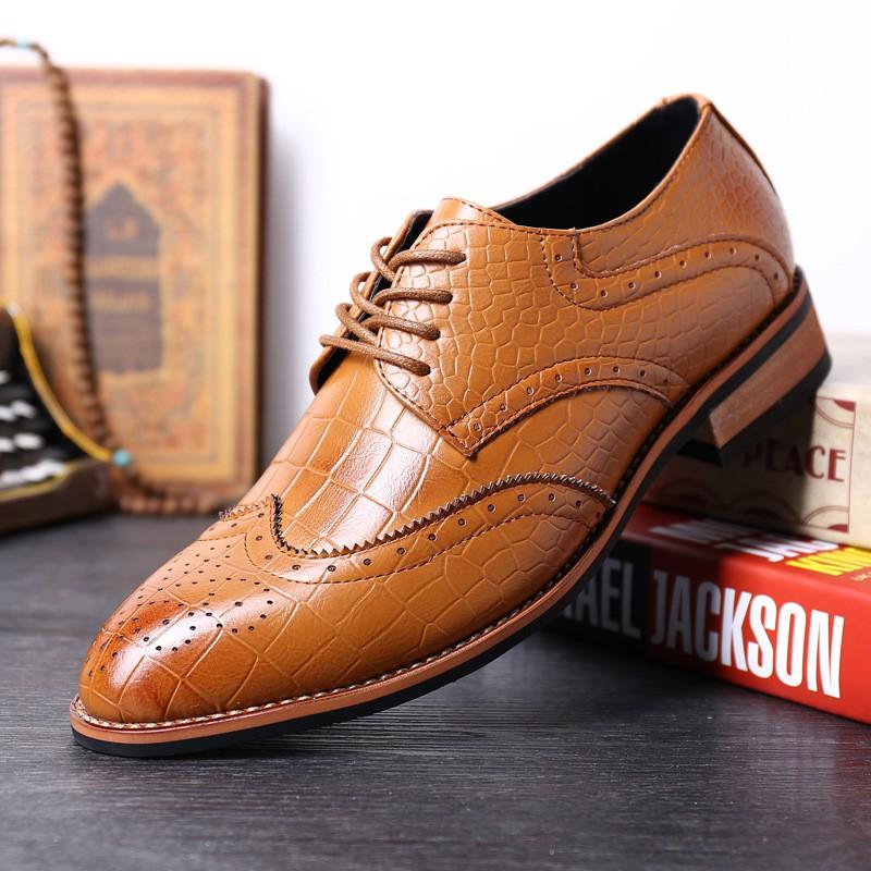男鞋布洛克雕花商務正裝皮鞋男士英倫 潮鞋低幫鞋