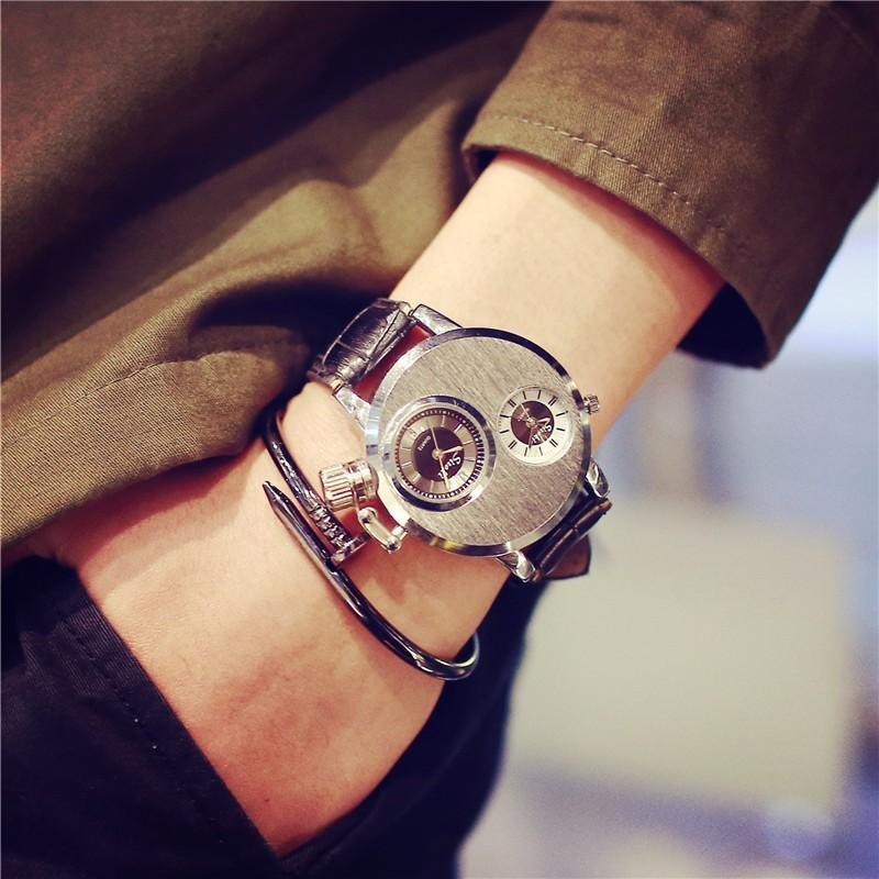權志龍潮男雙時間商務鋼帶非機械表石英潮流 男女學生情侶手錶