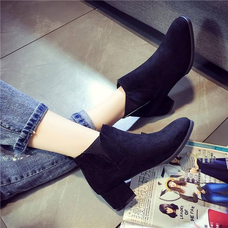 ☞☞☞ギケグn 靴子女 2016 高跟鞋皮磨砂圓頭粗跟馬丁靴女短靴及裸靴