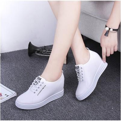 內增高女鞋系帶春秋 小白鞋 休閒鞋松糕厚底坡跟單鞋樂福鞋