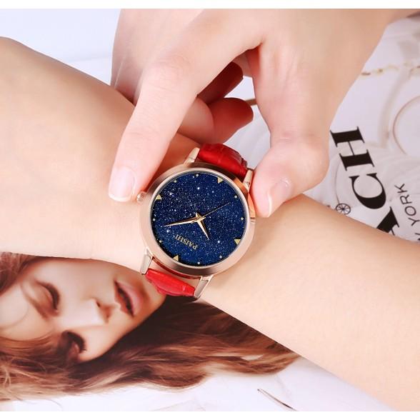 滿天星 女生腕錶防水石英錶盤真皮手錶學生簡約休閒女錶