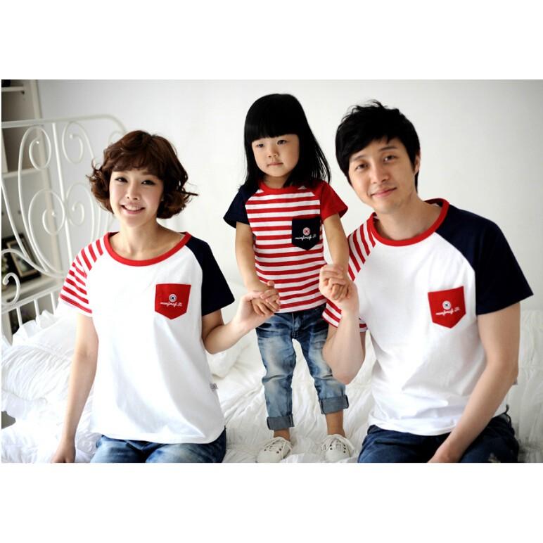 紅條紋插肩袖純棉T恤( )親子裝 家庭裝全家福裝母子裝父子裝情侶裝班服(米奇妮親子館)
