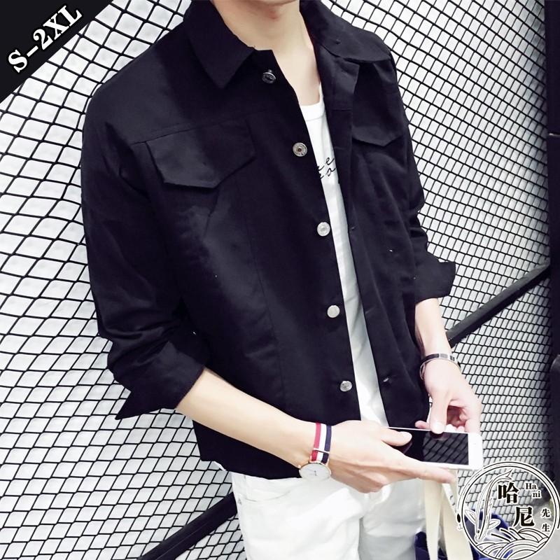 夾克外套S 2XL 男士短款純色夾克休閒衣情侶夾克外套2 色選哈尼先生~H0579 ~