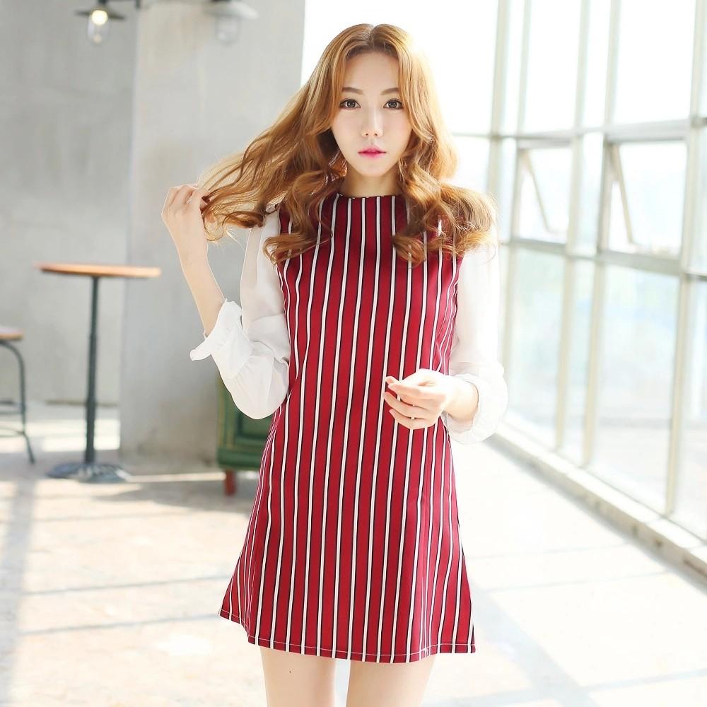 A170 女裝秋裝 條紋高檔長袖雪紡連衣裙