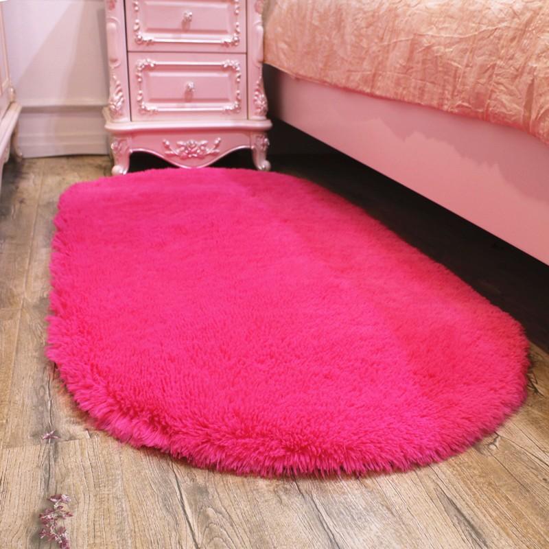 ~淘之夭夭~可水洗 可愛橢圓形地墊家用客廳茶幾墊臥室房間床邊毯床前毯