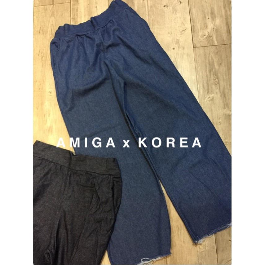 AMIGA 韓國連線仿單寧不修邊下襬寬褲,腰部鬆緊帶 ~