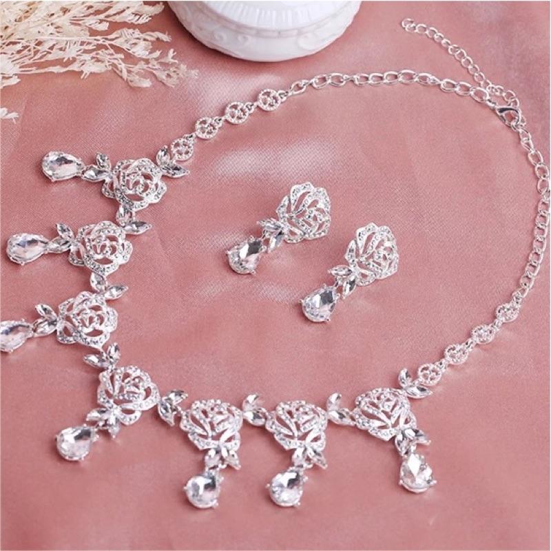 韓式新娘鏤空玫瑰花項鍊耳環二件套裝結婚大氣套鏈婚紗禮服配飾品