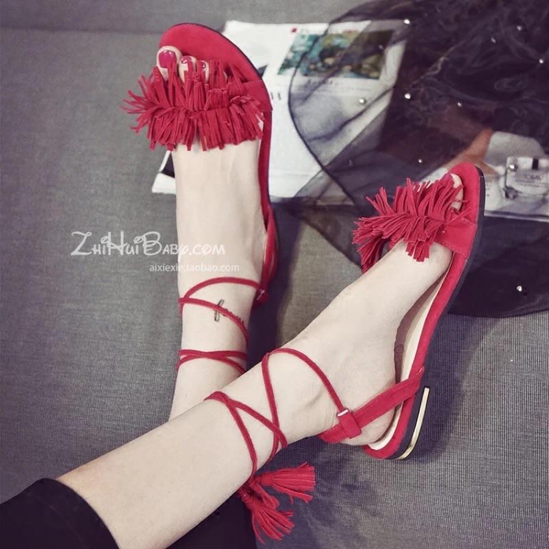涼鞋女夏平底流蘇交叉綁帶低跟鞋粗跟魚嘴鞋性感 女鞋