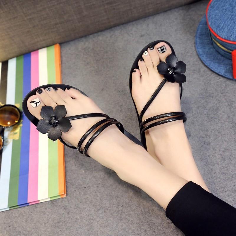 甜美花朵夾腳平底涼拖鞋子女夏平跟人字拖鞋潮女士沙灘鞋涼鞋拖鞋厚底涼鞋高跟鞋羅馬涼鞋尖頭涼鞋