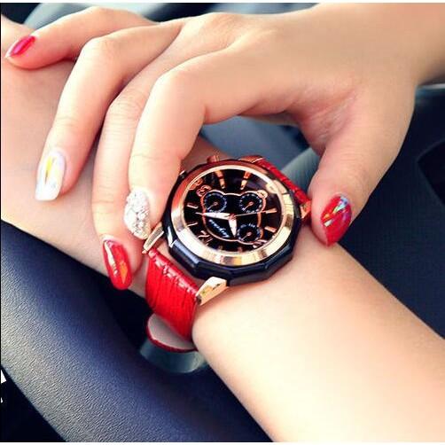 潮流 奢華休閒皮帶女性手錶 潮流女士時裝表 石英女表大錶盤女表石英表100 實拍
