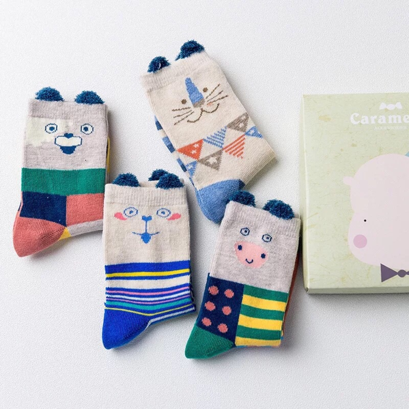 滿件送襪~️(10 24cm 親子襪)四入亮色系幾何立體耳朵動物短襪男童女童兒童寶寶 純棉