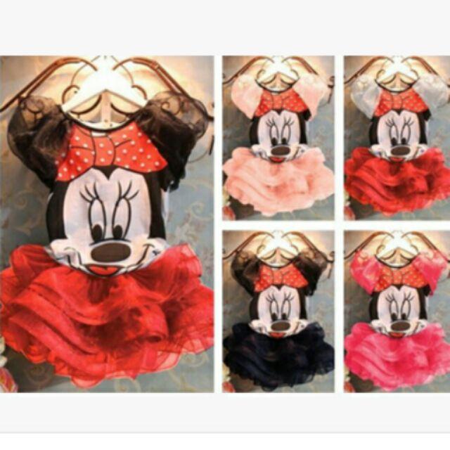 女童 可愛卡通米奇米妮上衣蓬蓬短裙套裝