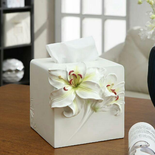 粉紅玫瑰 屋歐式 百合花捲筒面紙盒