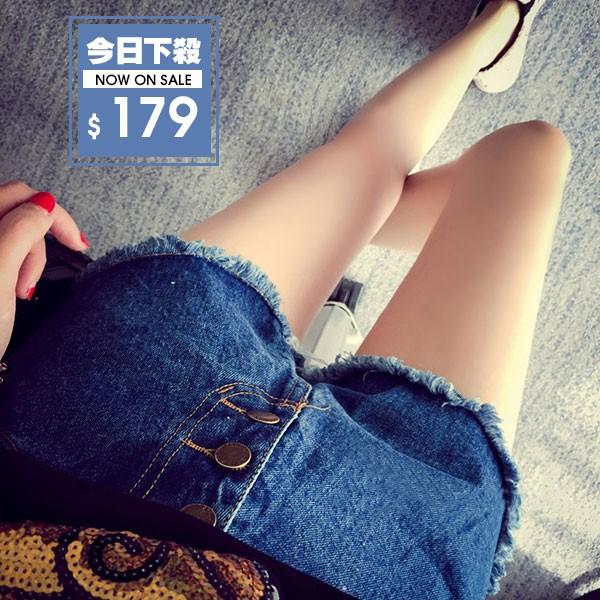 附發票~DIFF ~ 女裝高腰牛仔短褲熱褲 破洞毛邊顯瘦短褲女潮牛仔褲短褲鬚鬚~P28 ~