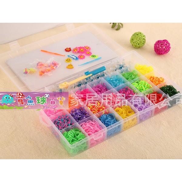 章魚球 彩虹編織器Rainbow Loom 22 色4600 條彩色橡皮筋彩虹橡皮筋~25