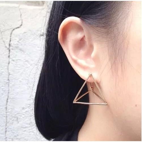 PETIT BAZAR 韓國原宿 復古簍空三角形大方耳環耳飾