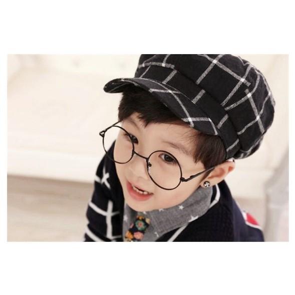 ~灰熊Q ~Q137  格子男女小孩八角帽 百搭兒童時裝帽子小孩文藝 保暖帽毛帽毛線帽絲巾