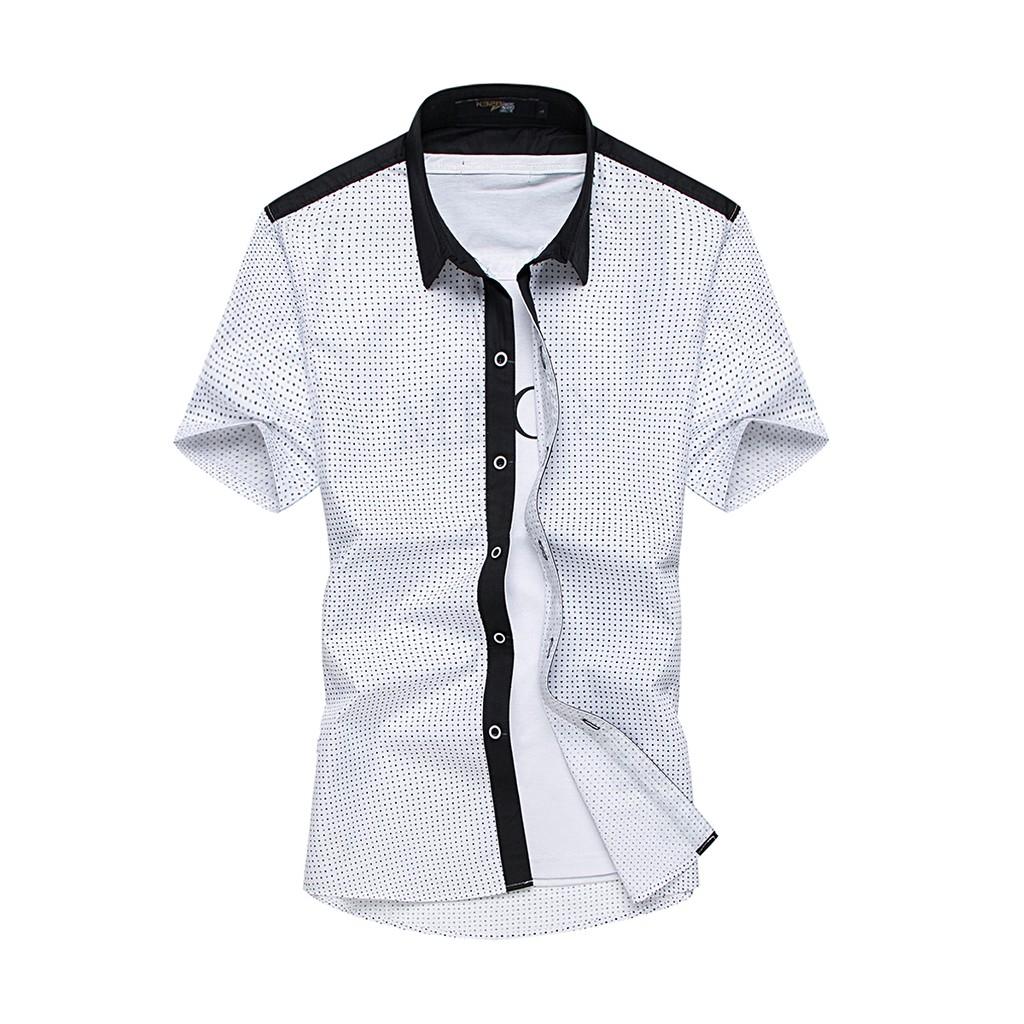 衝讚數✨小圓點拼接短袖襯衫