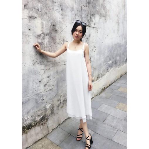 內搭雪紡襯裙長款背心裙寬鬆大碼吊帶裙吊帶背心打底裙A 型裙