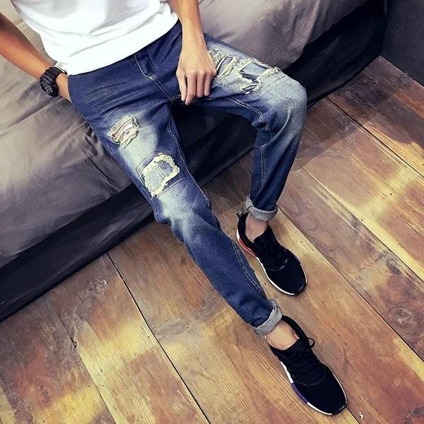 057 3 藍色G42 款哈倫街頭破洞牛仔褲男士複古修身潮流小腳直筒褲補丁磨破長褲破褲磨破
