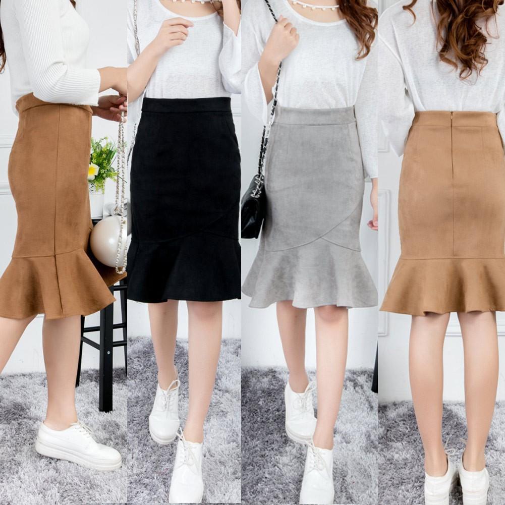 女裝 仿麂皮半身裙荷葉邊後背拉鏈優雅魚尾裙包臀半裙鉛筆裙
