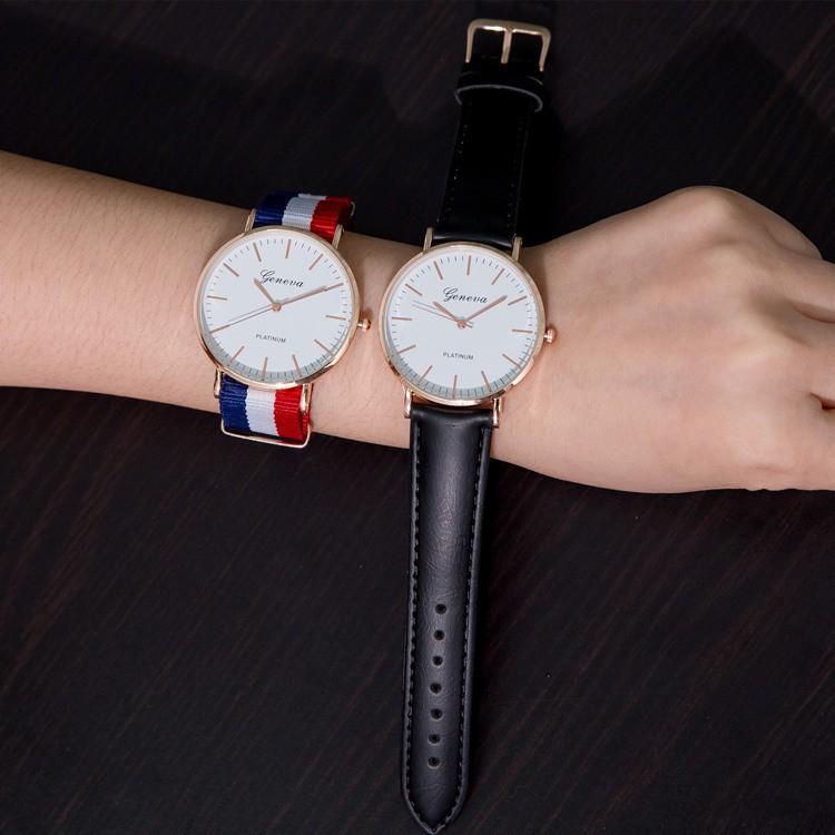 簡約潮流 帆布袋男女中學生條紋錶帶李易峰同款尼龍帶手錶