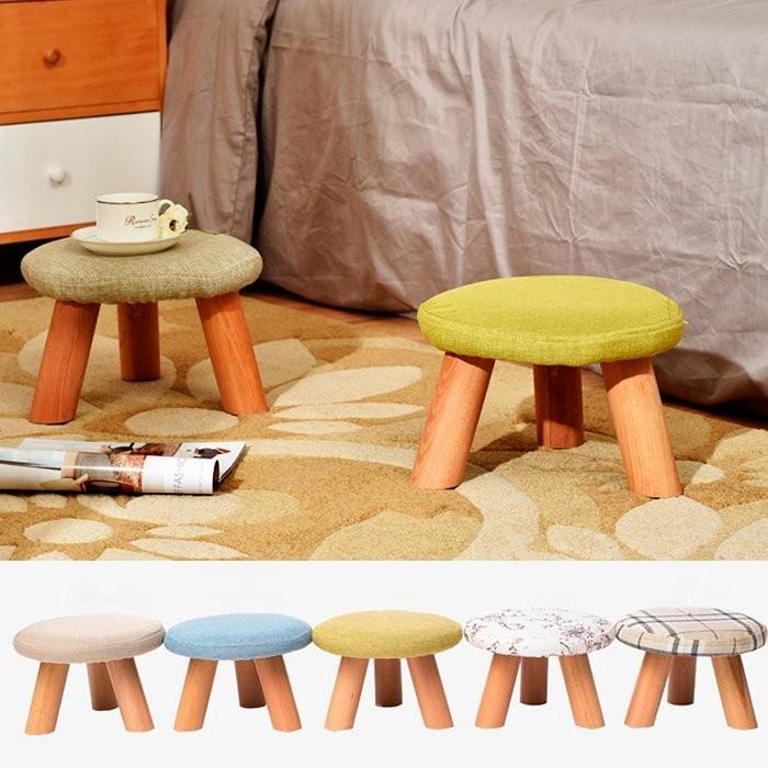 三腳小板凳小椅子兒童椅客廳茶几民宿特色咖啡廳木製腳凳穿鞋凳木棉麻椅凳餐桌邊椅跨腳椅TMEV
