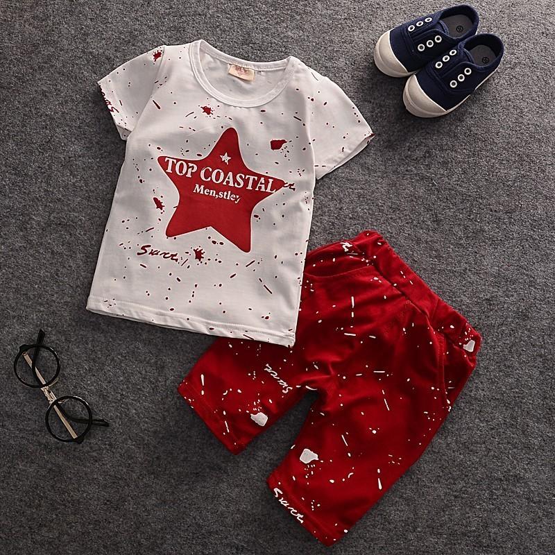 潮寶寶 男童短袖套裝半袖兩件套 T 恤 寶寶兒童短褲潮男女 背心T 恤線衫Polo 衫襯衫