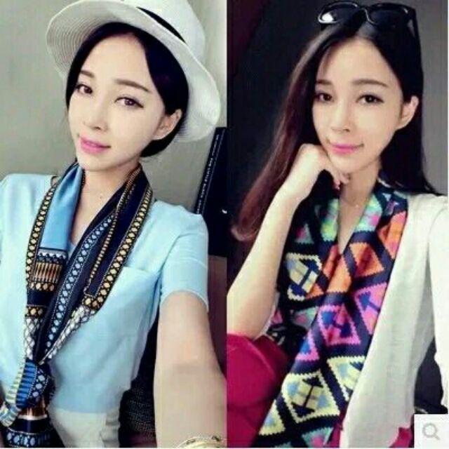 韓國春夏 百搭小長巾小絲巾領巾綢緞雪紡長條圍巾