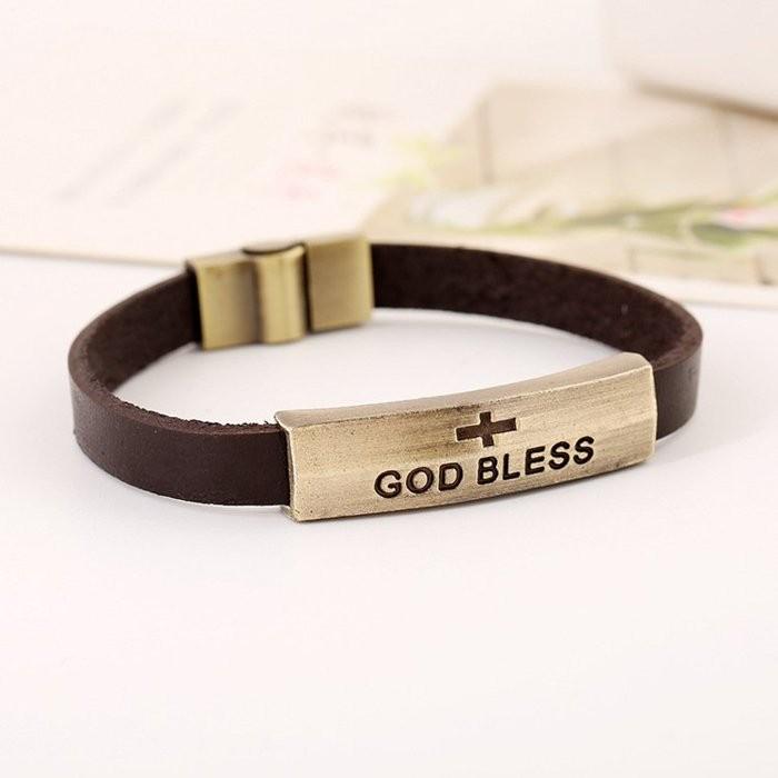 ~十架之愛~~ ~God Bless 上帝祝福復古牛皮手環手鍊基督福音 男女 款