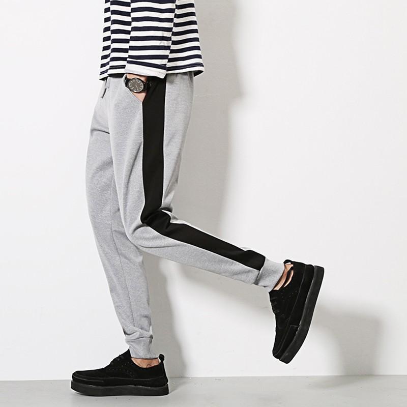 3XL 男裝側邊拼色鬆緊束帶哈倫休閒 褲2 色