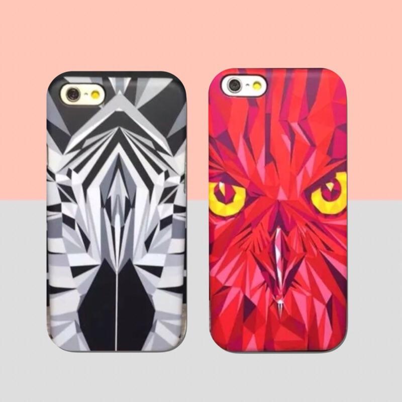 蘋果卡通夜光男森林之王老虎獅子黑白手機殼保護套iPhone6 IPhone6s IPhon