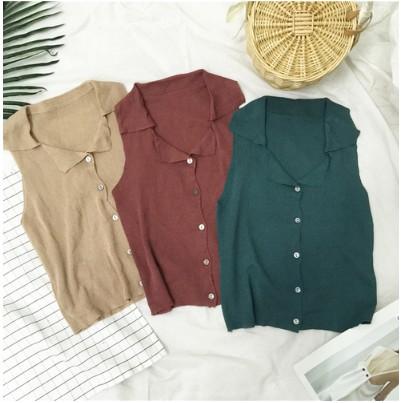實拍實價法式復古西裝領單排扣顯瘦無袖針織背心馬甲