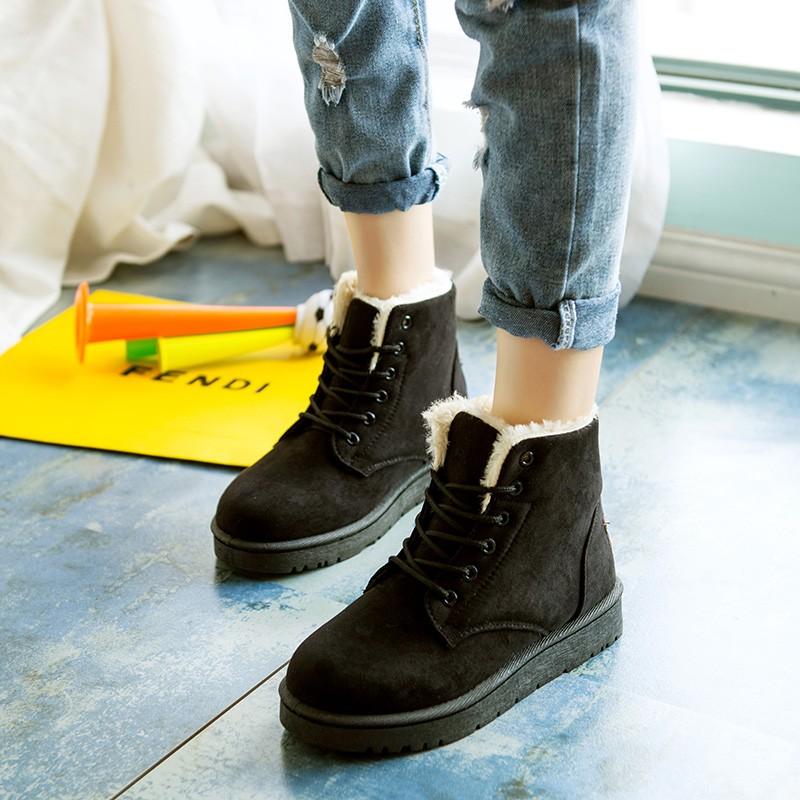 雪地靴女鞋短筒短靴加絨加厚平跟保暖學生防滑棉鞋 踝靴短靴雪靴厚底高跟靴子秋天 馬汀鞋增高鞋