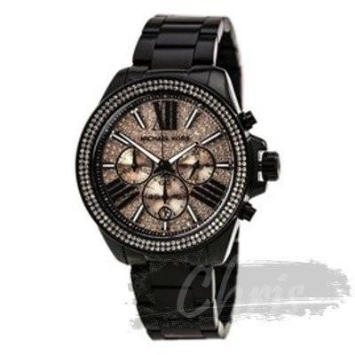 Chris 美國直購Michael Kors MK 粉夜閃耀星空羅馬晶鑽黑色錶帶三眼手錶腕