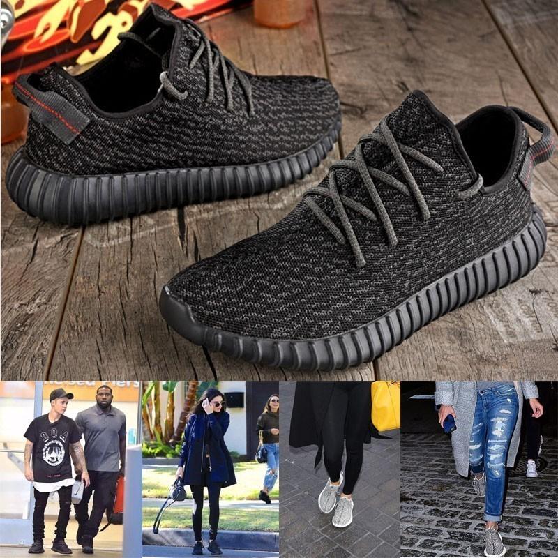 愛迪達Yeezy 350 Boost low 侃爺椰子低筒全黑男女情侶款慢跑鞋adidas