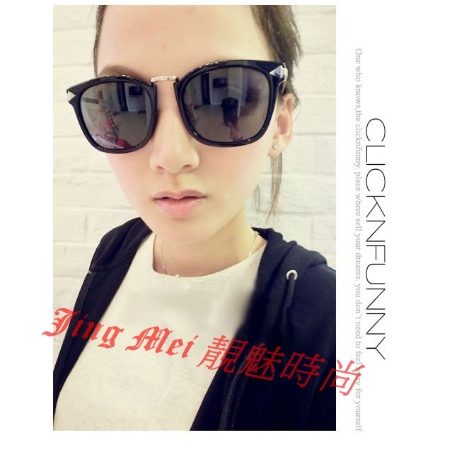 ~Jing Mei 靚魅 ~GL 5938 文藝男女款潮流大框金屬眼鏡復古非主流太陽眼鏡墨