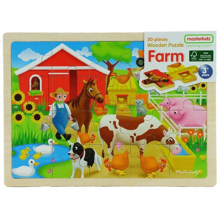 木製拼圖農場動物Masterkidz 好童年代理~部分與整體、圖形與空間關係認知;視覺及圖