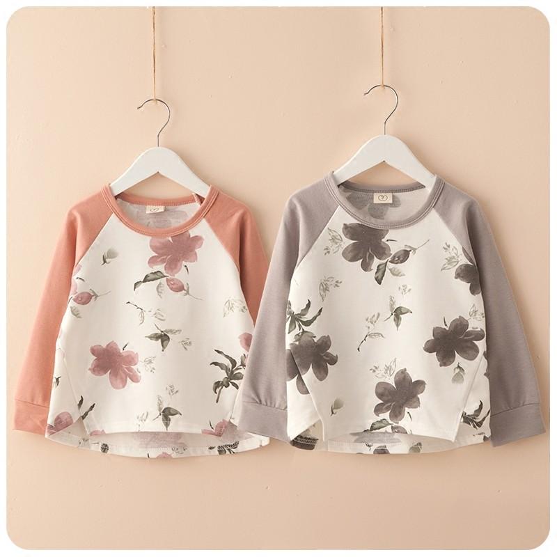 2016  女童休閒古典花朵長袖t 恤圓領寬鬆上衣 加