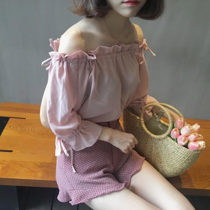 女裝 性感露肩一字領短袖襯衫上衣仙女氣質花邊柔美雪紡衫