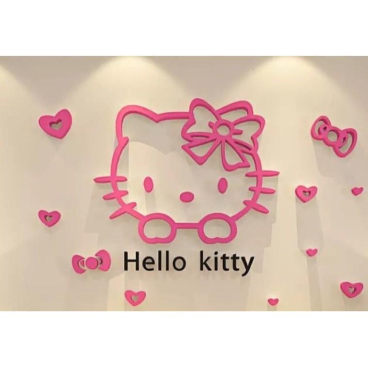 全蝦皮最 ,老闆慈悲來的!Hello kitty 壓克力立體壁貼3D 壁貼床頭背景可愛牆貼