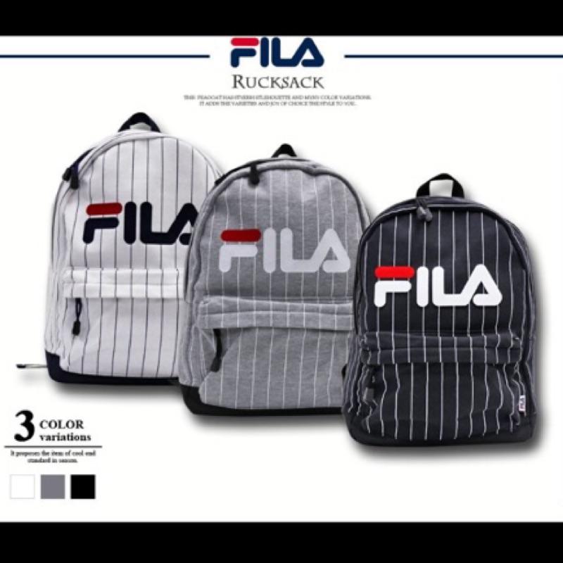 Mars  超搶手日版FILA LOGO 後背包包包上學逛街棒球條紋棉質