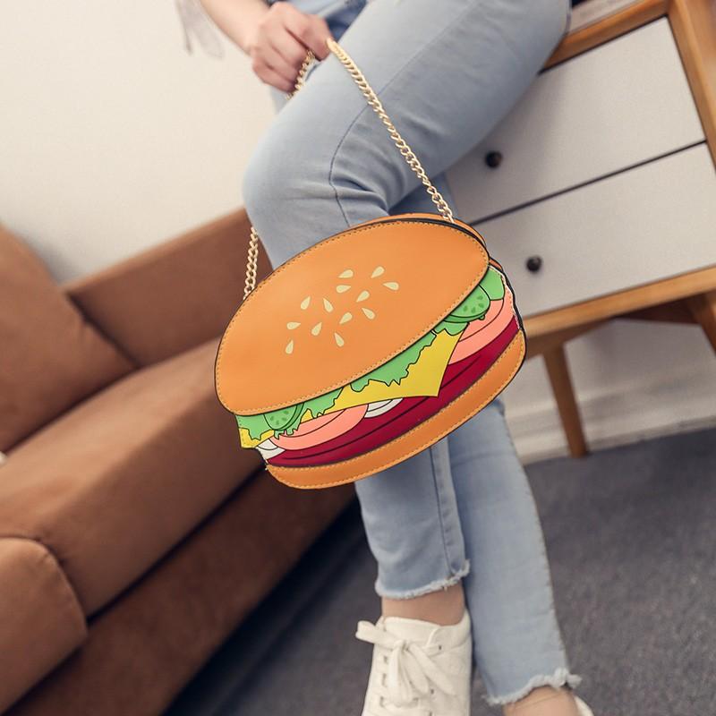 韓國ulzzang 卡通薯條漢堡小包包 爆米花單肩斜跨鏈條包手機包