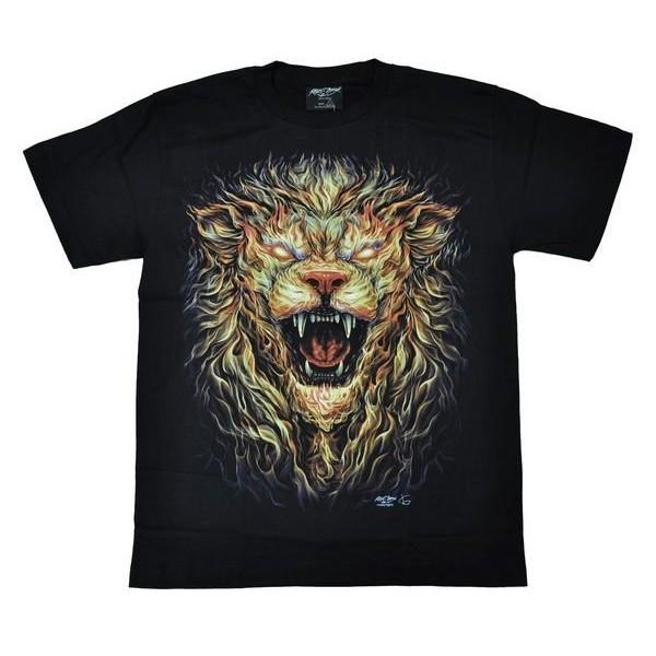~Mr 17 ~夜光動物T 火焰獅獅子火焰獅頭刺青兩面圖案 T SHIRT 短袖美式滾筒T