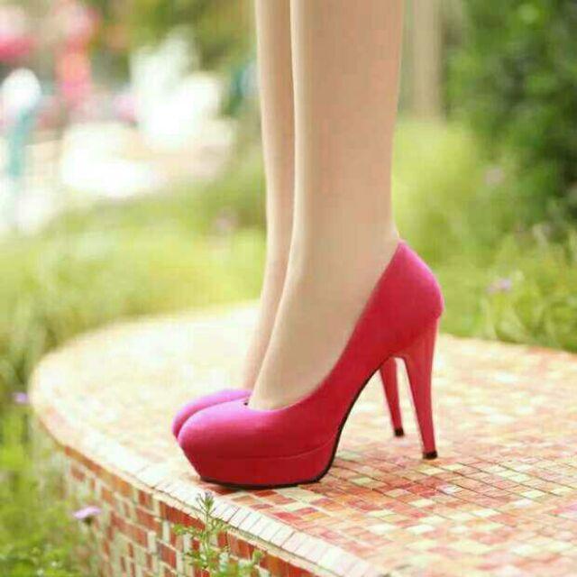 高根鞋修腿絨面防水台高跟鞋女鞋