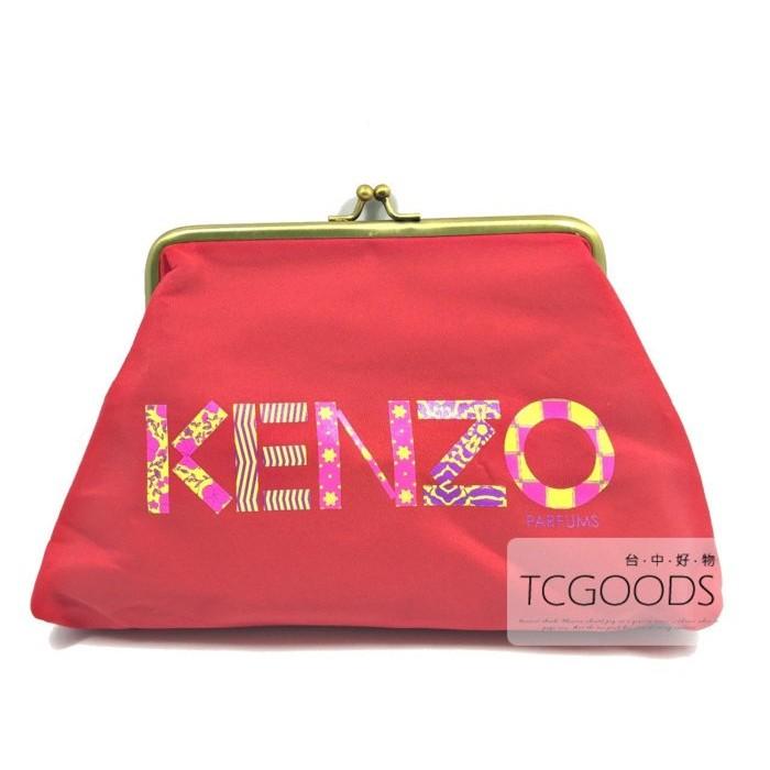 ~台中好物~KENZO 香水櫃限定贈品紅色 LOGO 金扣化妝包收納包小物包大容量手拿包
